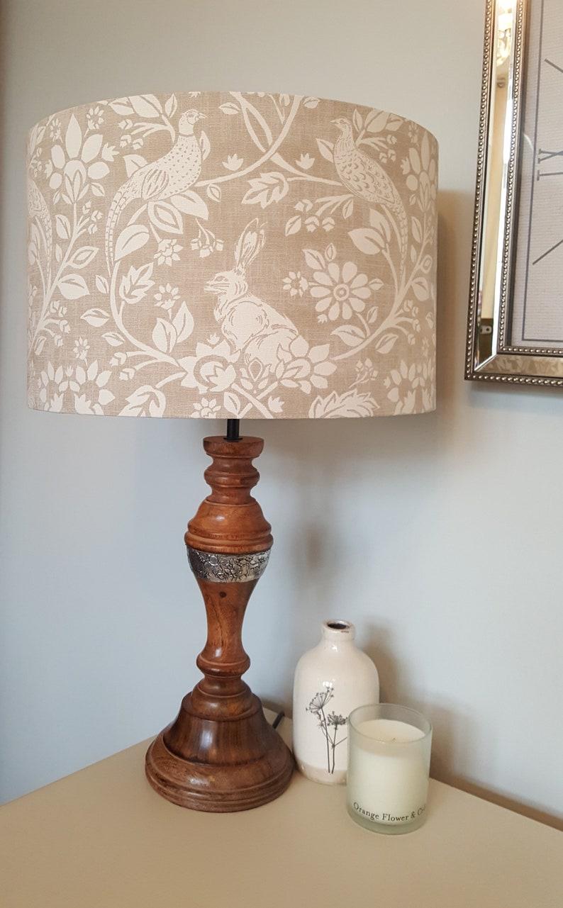 Heathland Linen Drum Lampshade  handmade lamp shades in 3 image 0