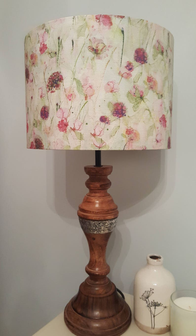 Peonies and Rose fabric by Sue Fenlon Drum Lampshade  image 0