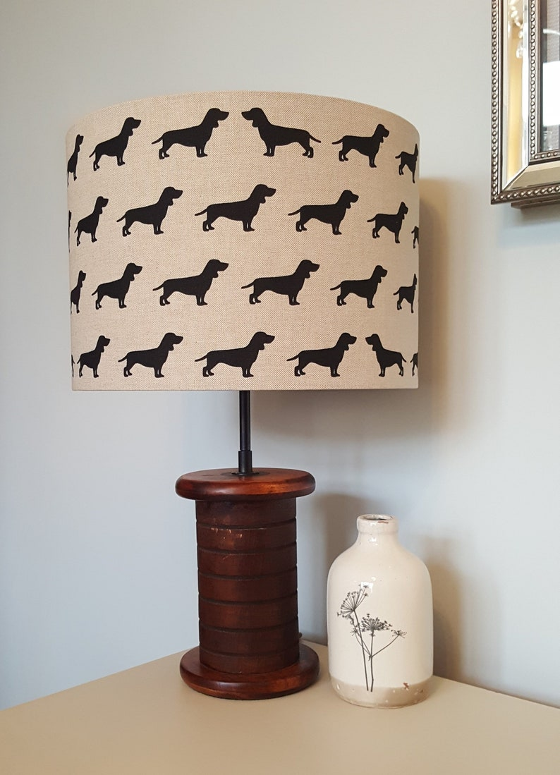 Dog Silhouette Drum Lampshade  handmade lamp shades in 3 image 0