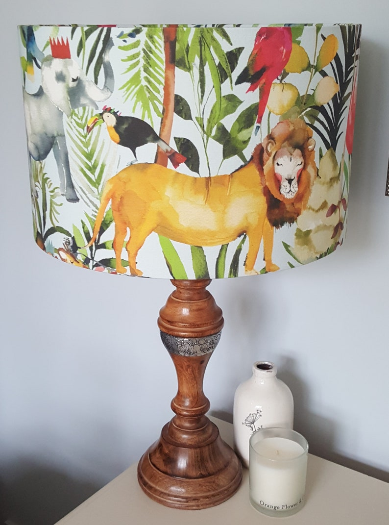 King of the Jungle: Lion  Drum Lampshade  handmade lamp image 0