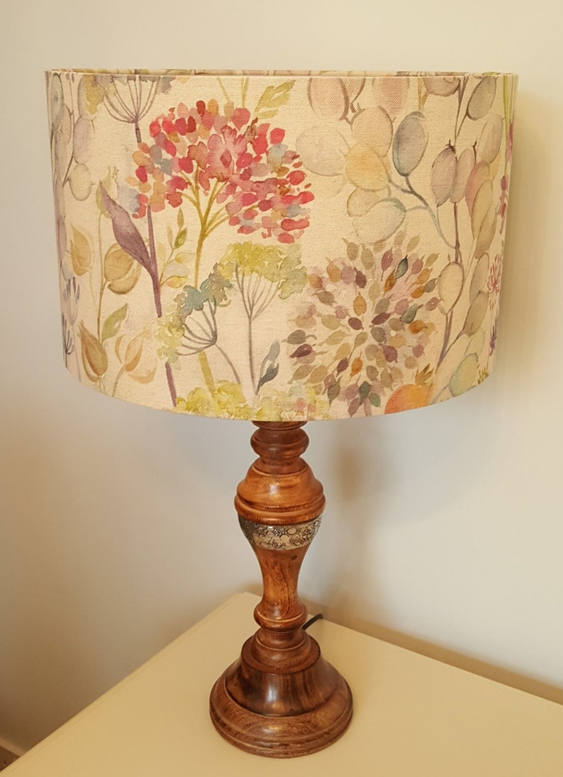 Hedgerow Linen fabric by Voyage  Drum Lampshade  handmade image 0