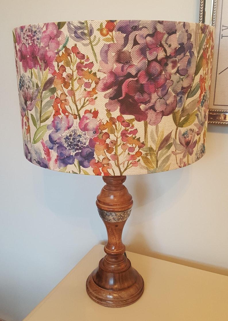 Hydrangea print fabric by Voyage  Drum Lampshade  handmade image 0