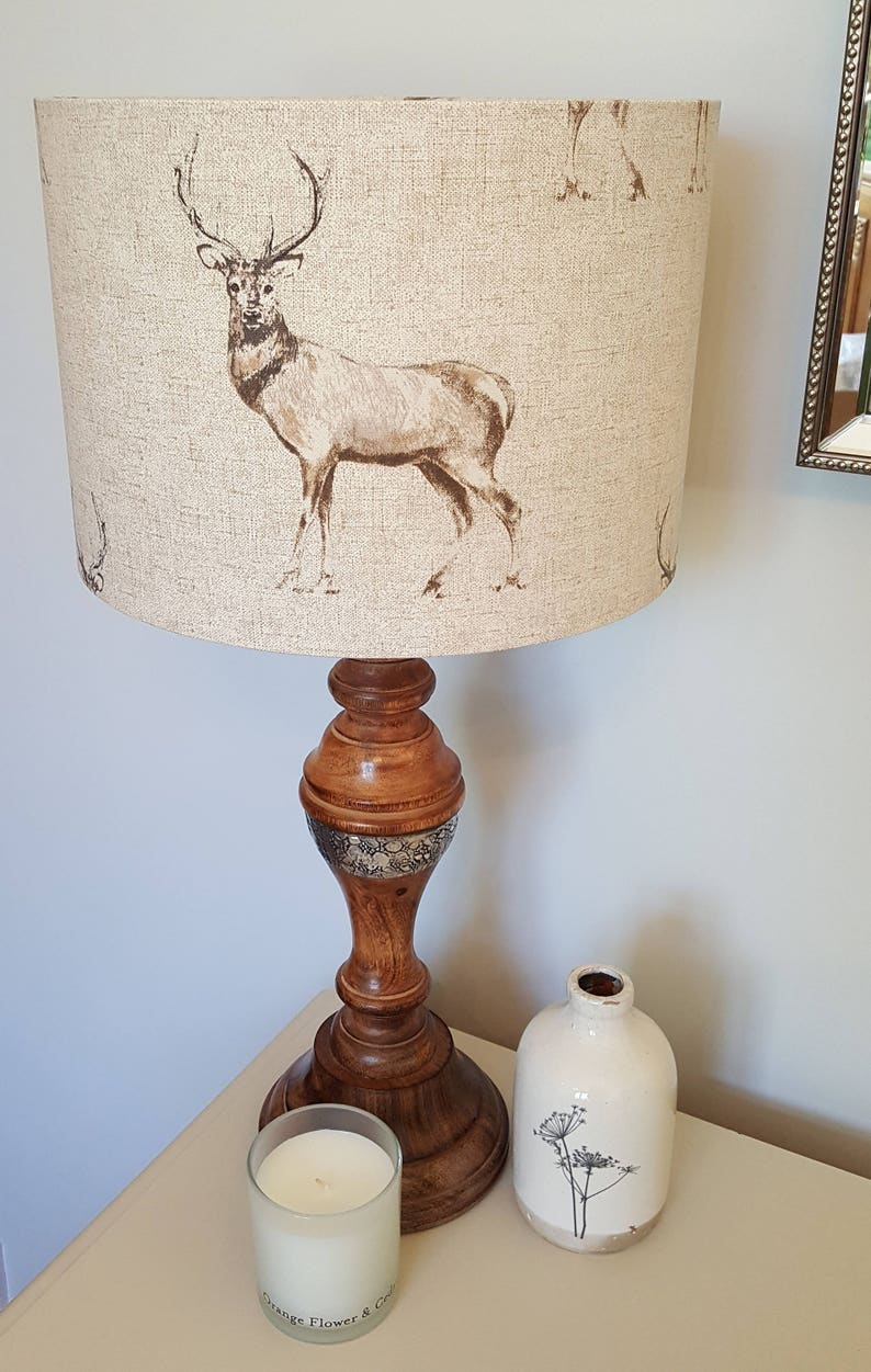 Standing Stag Drum Lampshade  handmade lamp shades in 3 image 0