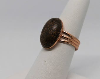 Chrysanthemum Natural Gemstone Ring ; Adjustable Ring ; Copper Plated Brass Ring