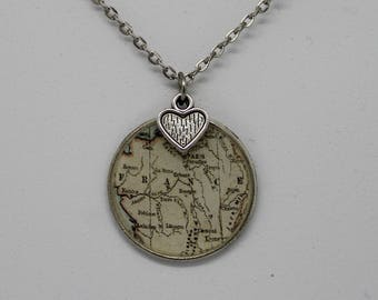 France map pendant necklace ; vintage inspired