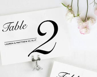 Table Numbers Wedding / Table Number Cards / Table Numbers Printable / Simple Table Number Cards / Elegant Wedding Table Cards / Printable