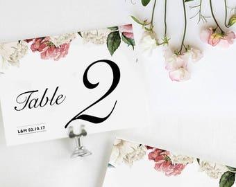 Table Numbers Wedding / Table Number Cards / Table Numbers Printable / Floral Table Number Cards / Elegant Wedding Table Cards / Printable