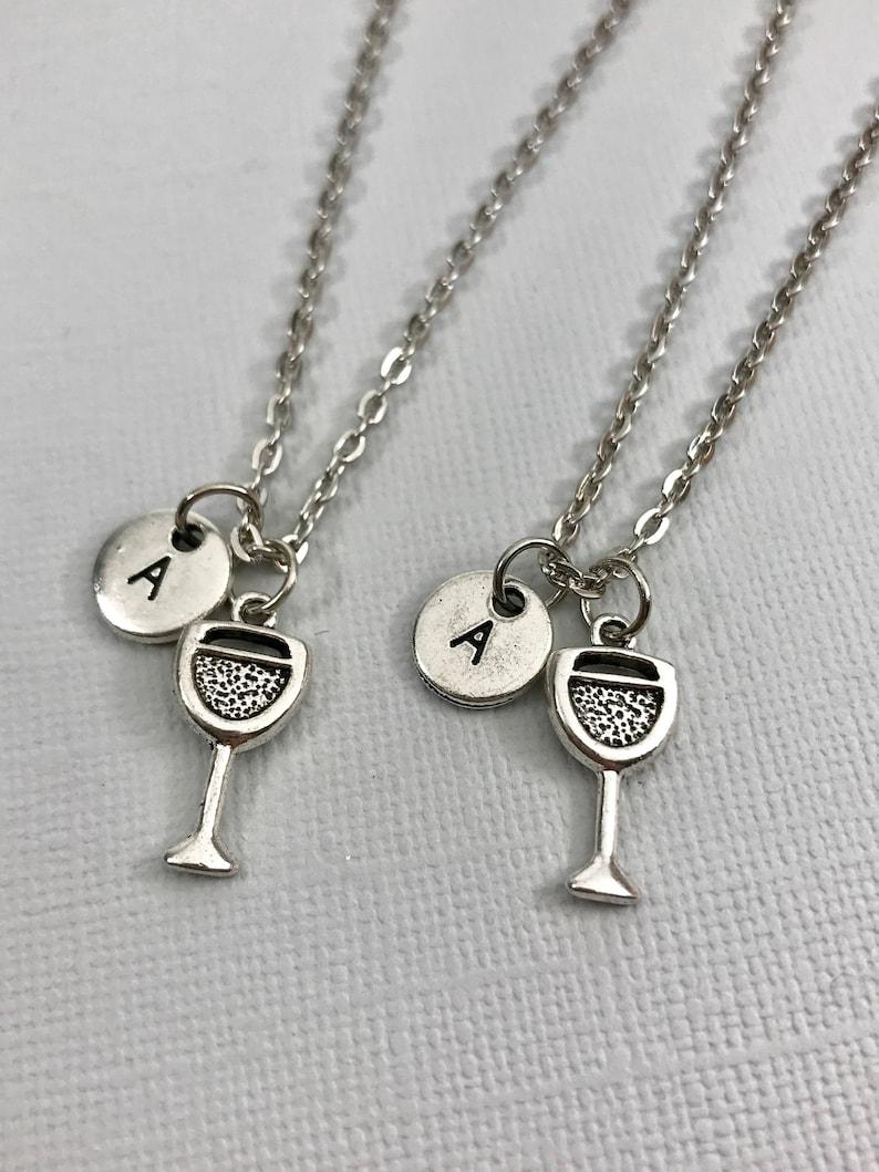 Wine Jewelry Best Friend Necklace Wine Glass Charm Wine Glass Necklace Initial Necklace Personalized Necklace Monogram