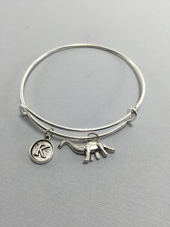 6f1a6c4242974 Dinosaur Charm Bracelet - Brontosaurus - Dinosaur Jewelry - Jurassic -  Raptor Gift - Valentines Gift - Personalized Jewelry - Initial Charms