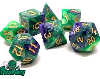 DnD Dice Set  Polyhedral Dice Set  Red And Yellow Fairy Snot Blend Dice Set