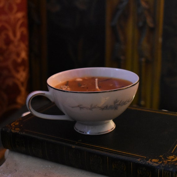 Vintage Teacup Candle Fortune Telling Candle Upcycled Etsy