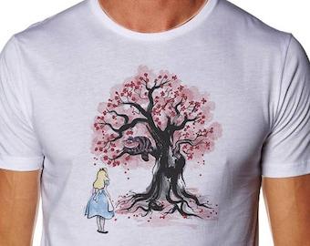 The Cheshire's Tree sumi-e - White T-Shirt - Alice in wonderland shirt - Cheshire T-shirt - Cat T-shirt - Alice T-shirt - Wonderland Shirt