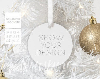 Download Free White Circle Ornament Christmas Mockup / Xmas Styled Stock Image / Add your own image / Show your design /Sublimation Template Canva /Round PSD Template