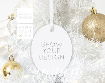 Download Free White Aluminium Oval Ornament Christmas Mockup / Xmas Styled Stock Image / Add your own image / Show your design / Sublimation Template PSD Template
