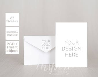 Download Free A7 Card Invitation Mockup with Envelope / Styled Stock Photography /Minimalist Style/ PSD Smart Object + High Res Jpeg/ Multiply your design PSD Template