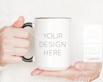 Girl holding 15oz Coffee Mug Mockup / PSD Smart Object / Femenine Image Styled Stock for Etsy listing /15oz Ceramic Mug with black handle