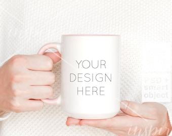 Girl holding 15oz Coffee Mug Mockup / PSD Smart Object / Femenine Image Styled Stock for Etsy listing /15oz Ceramic Mug with pink handle