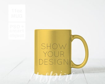 Download Free Sparkling Gold Pearl 11oz Mug Mockup / PSD Smart Object Layer / Minimalist Styled Stock Photography for Etsy Listings / Sublimation Blank PSD Template