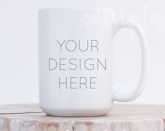 Download Free 15oz Ceramic Mug Mockup / PSD + Smart Object Layer / Neutral Background / Minimalist / Portrait Styled Stock Photography for Etsy Listings PSD Template