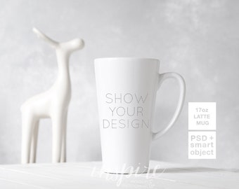 Download Free 17oz Latte Mug Mockup / PSD Smart Object / 12oz Coffee Mug /Minimalist Christmas Styled Scene Mockup / Sublimation Product Template PSD Template
