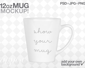 Download Free 12oz Latte Mug Mockup / Add your own background / Product Mockup / PSD with Smart Object / Template Design / Show your Sublimation Mug PSD Template