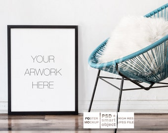 Download Free Big Black Frame Mockup / PSD Smart Object / Neutral Background Black Frame / Stock Photography / Acapulco Chair / Cozy / Minimalist Style PSD Template
