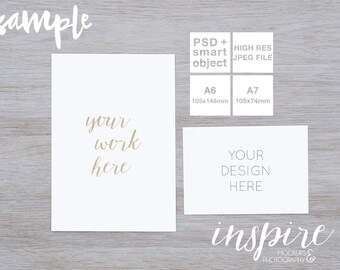 Download Free A6 A7 Card Invitation Mockup / PSD Smart Object + Jpeg / White wood background / Styled stock photography / Digital Image / Minimalist style PSD Template