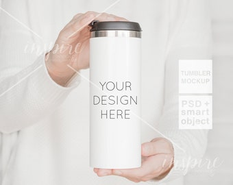 Girl holding 16oz Skinny Tumbler PSD Styled Mockup / Autumn Styled/ Product Mockups / PSD Smart Object / Sublimation Stainless Steel Tumbler