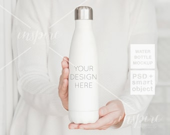 Girl holding 17oz Water Bottle Mockup / PSD Smart Object / Minimalist Styled Image for Etsy Listings / Sublimation Template/ Stainless Steel