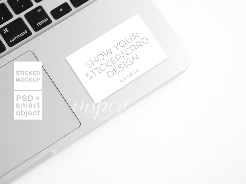 Rectangle Sticker Mockup / Laptop Styled Stock Photography for Etsy or  Social Media / PSD Smart Object / Vynil Decal / Computer Mock Up