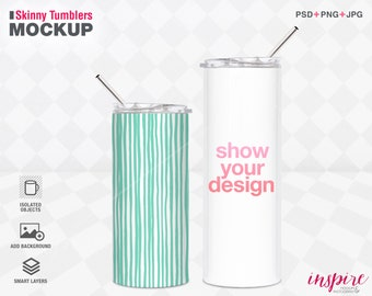 16oz 20oz Skinny Tumbler with straw PSD Styled Mockup / Full Wrap Design / Sublimation Product Mockups / Add your own background /Comparison