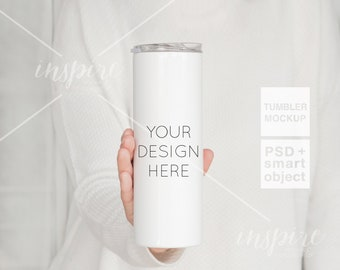 Girl holding 20oz Skinny Tumbler PSD Styled Mockup / Autumn Styled/ Product Mockups / PSD Smart Object / Sublimation Stainless Steel Tumbler