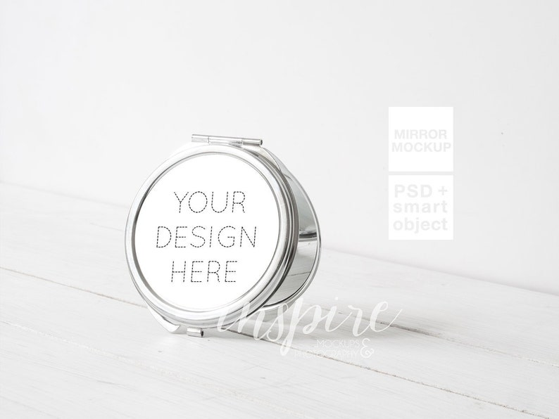 Silver Round Compact Makeup Mirror Mockup for Sublimation Printing / Add  your own design / Show your design / Sublimation Template / Canva