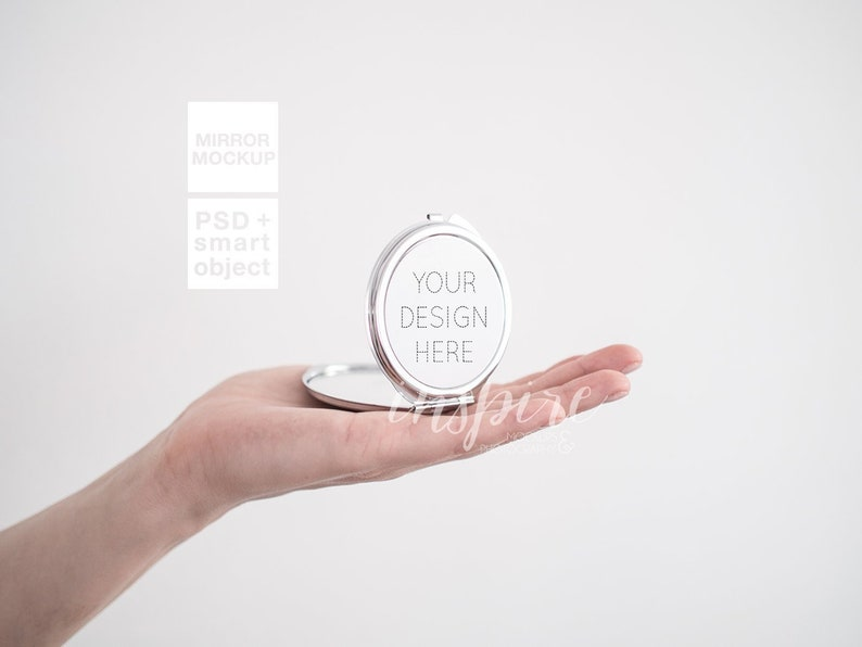 Silver Round Compact Makeup Mirror Mockup for Sublimation Printing / Add  your own design / Show your design / Girl Holding Mirror / Template
