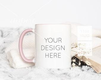 11oz Coffee Mug with Pink Handle Mockup / PSD Smart Object / 11oz Ceramic Mug/Autumn Styled for Social Media or Etsy listing /Product Mockup