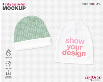 Baby Beanie Hat PSD Mockup / PSD Smart Object Layers / Add your background / Add your design / Printed Mint Product Mockups /Template Design
