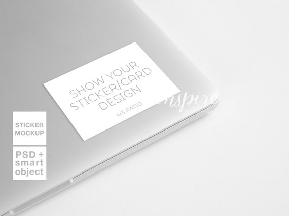 Rectangle Vinyl Decal Mockup Laptop Styled Stock Photography Etsy