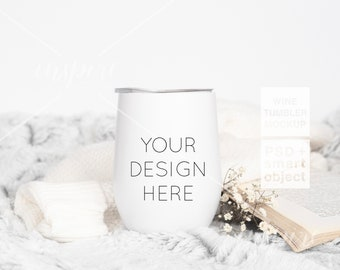 Wine SS Tumbler PSD Styled Mockup / Autumn Styled Mockup / Product Mockups / PSD Smart Object / Sublimation Stainless Steel Tumbler
