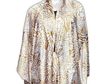 Animal Print Kimono Duster Lounge Robe