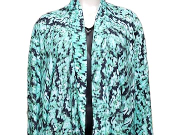 Green Camo Geo Print Kimono Duster Robe