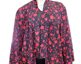 Dark Floral Kimono Duster Robe