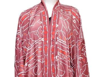 Mauve Flower Print Yukata Kimono Duster Robe