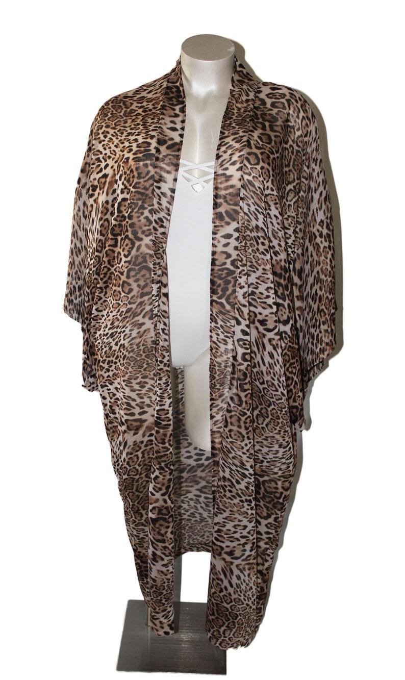 Plus Size Open Size Cheetah Print Kimono Duster Cover Up Boho image 0