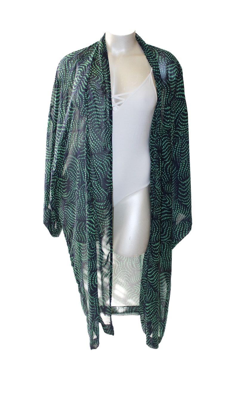 Plus Size Navy Blue Green Dots Kimono Chiffon Flowing Robe image 0