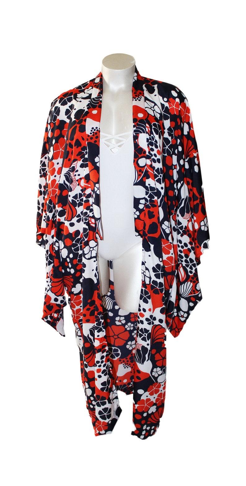 Plus Size Persimmon Blue Yukata Style Kimono Robe image 0