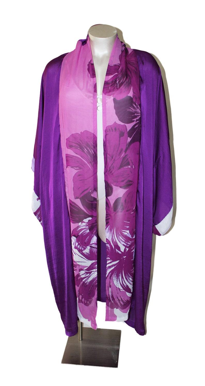 Purple Floral Chiffon Kimono Duster Cover Up image 0
