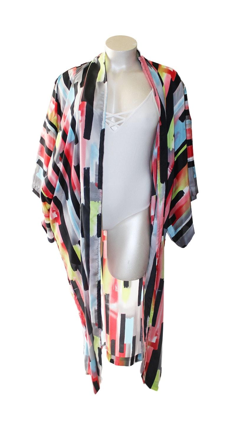 Plus Size Multi-Colour Palette Kimono Duster Robe image 0