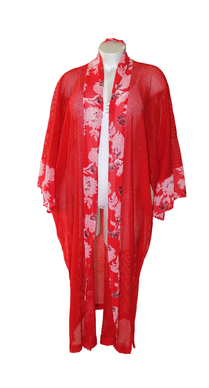 Red Floral Plus Size Duster Kimono Robe image 0