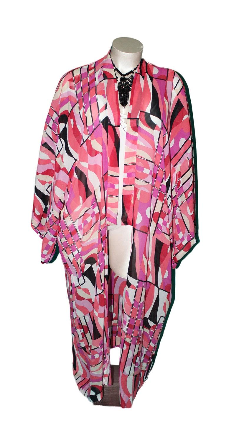 Plus Size Pink Retro Geo-Print Kimono Duster Robe Cover Up image 0