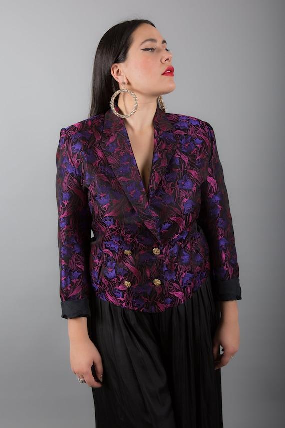 STUNNING Pink & Purple 90s Brocade Blazer - image 5
